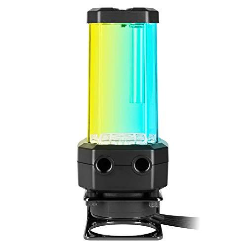 Corsair Hydro X Series XD5 RGB Bomba de Bombeo/depósito - D5 PWM - Depósito de 330 ml - Diez Leds RGB direccionables Individualmente, Sensor de Temperatura, Color Negro