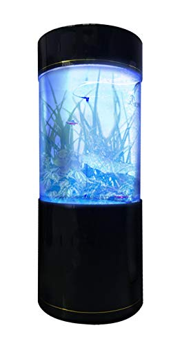 Penn-Plax Water World Luxury Large Cylinder Acrylic Aquarium with Built-in Stand and Storage Top (LM1) – 360° View – Great for Freshwater and Saltwater Fish – 53 Gallons
