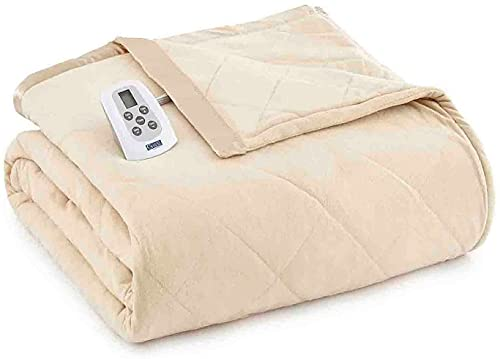 Shavel Home Products Micro Flannel Solid Electric Heated Blanket, Chino, King/Cal-King
