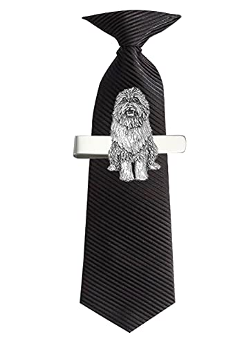 Barbudo Collie PP-D14 - Emblema de peltre inglés sobre una pinza de corbata (4 cm)