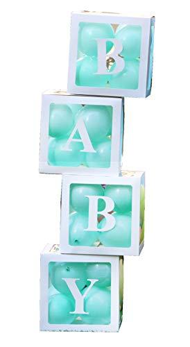 PILIN 4Pcs Bloques blancos Cuadrado Kit de cajas de Baby Shower Decoraciones de fiesta para niño y niña Bloques decorativos de globo de revelación de género