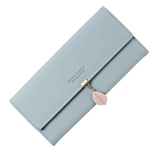 Neusky Damen Leder große Geldbörse, Frauen Leder Geldbeutel Lang Portemonnaie Geldtasche mit 9 Kartenfächer (Sommer Blau)