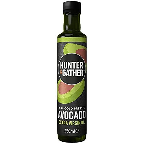 Hunter & Gather Aceite de Aguacate Extra Virgen 250ml   Prensado en Frio, Sin Refinar, Embotellado en Reino Unido   Versátil para Rociar, Freír y Sumergir   Libre de Azúcar, Gluten y Lácteos