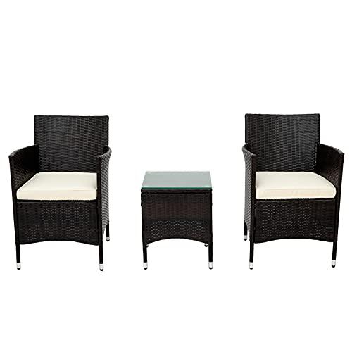 Muebles de Jardín Conjunto de jardín Sillón De Sofá con Mesa Poly Rattan Balcón Muebles De Muebles para Jardín/Balcón/Terraza, Marrón (Conjunto De 3)