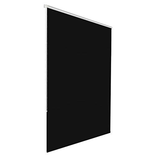 Klemmfix Verdunkelungsrollo für innen ohne Bohren :: Rollos für Fenster, blickdicht und lichtundurchlässig 65x150 cm schwarz