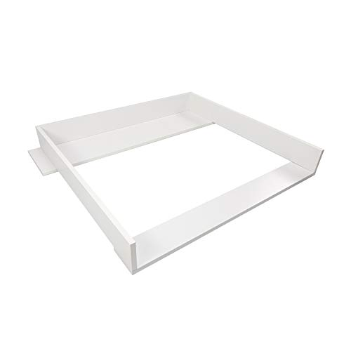 Puckdaddy Wickelaufsatz Konstantin – 90x76x10 cm, Wickelauflage aus Holz in Weiß, hochwertiger Wickeltischaufsatz passend für IKEA Koppang Kommoden, inkl. Montagematerial zur Wandbefestigung