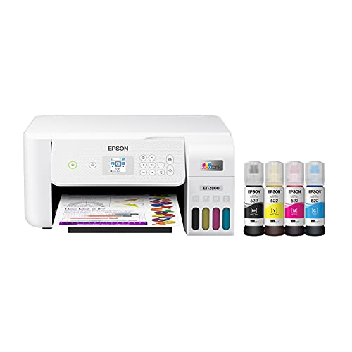 Epson EcoTank ET-2800 Wireless Color All-in-One Cartridge-Free Supertank Printer with Scan and Copy – The Ideal Basic Home Printer - White