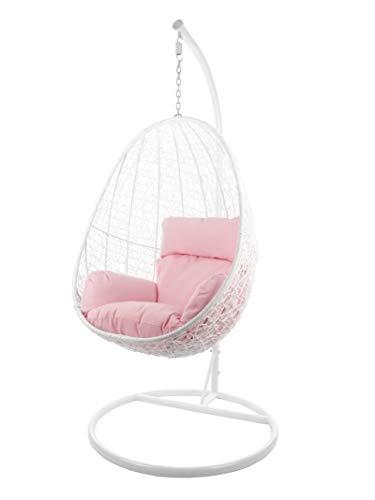 Komplettset Hängesessel CAPDEPERA inklusive Sitzkissen, Swing Chair, Poly-Rattan, Rattanmöbel, Schaukel, Loungesessel, Loungemöbel, (Gestell- und Korbfarbe: weiß, Kissen: rosa Nest (3002_Lemonade))
