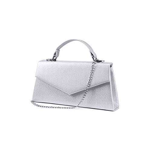 LOVEVOOK Clutch Purses for Women Evening Bags Handbag Envelope PU Leather Party Wedding Wristlet Handbag Silver