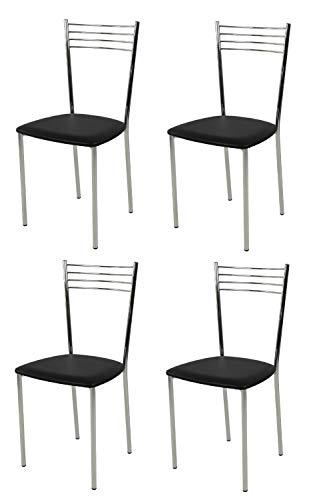 t m c s Tommychairs - Set 4 sillas Elena para Cocina, Comedor, Bar y Restaurante, Estructura en Acero Cromado y Asiento tapizado en Polipiel Color Negro