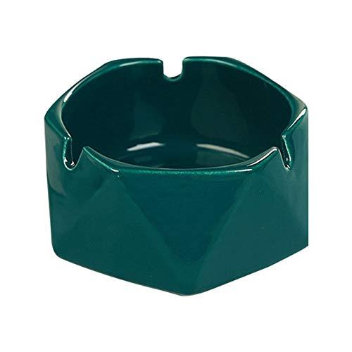 Cenicero de regalo Cenicero de cerámica con estilo para oficina y uso doméstico Apertura grande para facilitar la limpieza Cenicero de cerámica hexagonal geométrico (verde oscuro) Cenicero casero