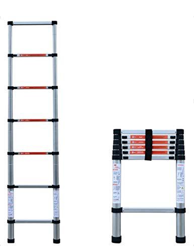 LWW Leiter, Teleskop-Loftleiter aus Aluminium, ausziehbare Dachbodentreppe ausziehbare Leiter 150 kg Tragfähigkeit,Anlegeleiter-2.6m
