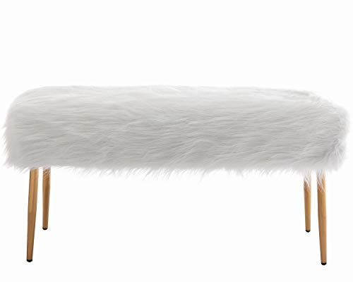 chairus Fur Bench Modern Long Furry Ottoman Bench for Bedroom, Vanity Bench with Gold Metal Legs, White