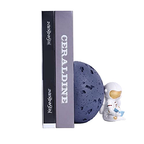Bookend, Hookends de astronautas, soporte de libro de astronautas, decoración de librerna adecuada para almacenar documentos, revistas, recetas, cuadernos, etc. (escuchar la luna, contemplación)