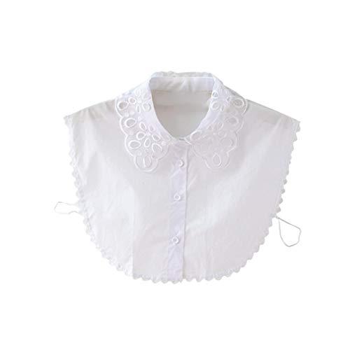 Hiinice Simple Elegante del Cuello de Encaje Estilo Desmontable Blusa de la Camisa La Mitad de Las niñas y Mujeres Blancas