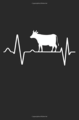 Bestiame battito cardiaco pulsazioni di mucca: Taccuino a righe con regali di allevamento di bovini da latte per allevatore di vacche da fattoria (formato A5, 15,24 x 22,86 cm, 120 pagine)