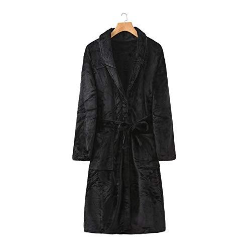SDCVRE Pijama camisón de Invierno,Invierno Franela Mujer Bata Kimono Bata de baño Espesar Coral Polar camisón con Bolsillos Ropa de Dormir Larga Parejas Ropa de Dormir Ropa de casa, Bata Negra, muje