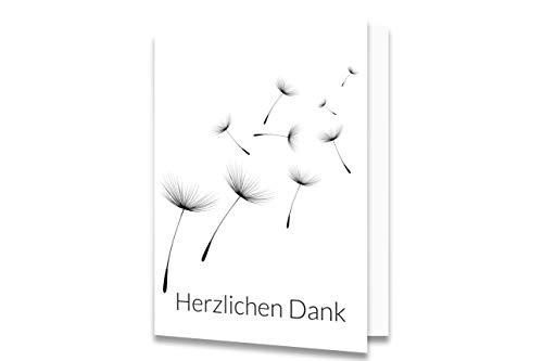 Friendly Fox Danksagungskarten Trauer mit Umschlag - 12 Trauerkarten mit Umschlag - Karten Set Pusteblumen Samen - Danke Karte nach Beerdigung