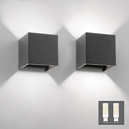Klighten 2er Wandleuchte Innen/Aussen Modern Up Down Design, 9W LED Wandlampe Mit Einer Ersetzbaren G9 LED Birne, IP54 Wasserdichte Außenwandleuchten 6000K Kaltes Weiß, Dunkelgrau