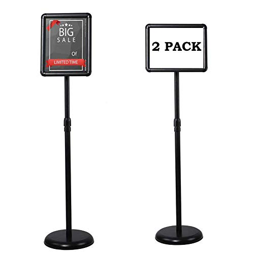 SCZS Sign Stand Adjustable Pedestal Sign Holder Stand, Poster Stand Aluminum Snap Open Frame for 8.5X11 Inches with Heavy Round Base, Both Vertical and Horizontal Sign Displayed (8.5x11inches(2pack))