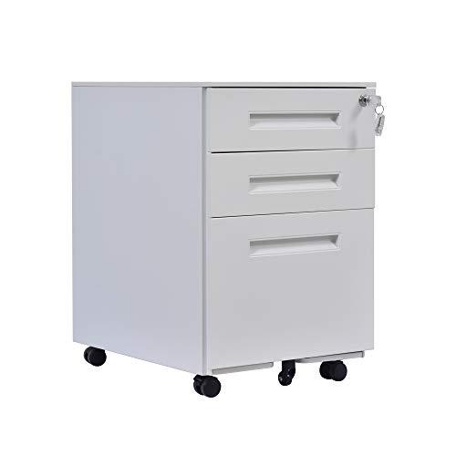 PUCHIKA Mobiler Weiß Aktenschränke mit 5 Rädern, 3 Schubladen in Verschiederner Größe mit Griff, Universal-Rad-Office-Lagerschrank, Rollcontainer