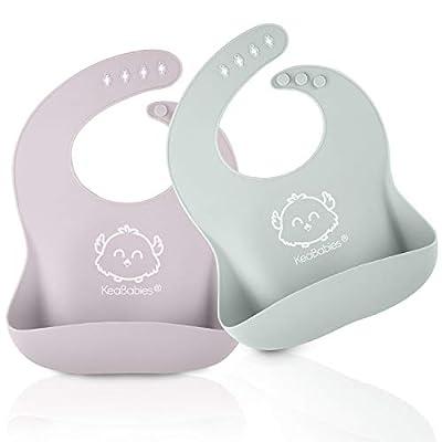 Silicone Baby Feeding Bibs - Waterproof, Easy Wipe Silicone Baby Bib (Soft Dusk) from KeaBabies