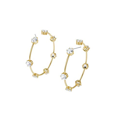 Swarovski Pendientes de aro Constella, Blanco, Baño tono oro