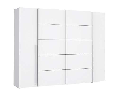 lifestyle4living Kleiderschrank in Weiß, 270 cm, 2 Kleiderstangen, 10 Einlegeböden | Hochwertiger moderner Kombi Schwebetürenschrank