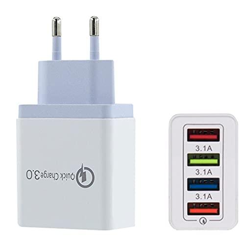 Cargador USB 4 puertos adaptador de carga, 3.1A USB cargador de fuente de alimentación adaptador de carga rápido para ordenadores portátiles/iPhone/iPad/Huawei/Galaxy/Bluetooth/auriculares, etc