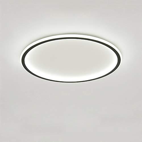 45 W Plafones LED, diámetro de 60 cm, grosor de solo 4,5 cm, lámpara de techo redonda negra, 4500 lm, 6000 K, luz blanca fría, iluminación moderna de techo para pasillo, oficina, dormitorio y salón