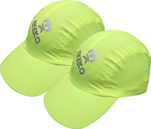 EKEKO Pack 2 UD Gorra de Running BULLETMAN, Tejido Transpirable, con Ajuste Trasero Regulable, Tennis, Running y Deportes en General. (Amarilla)