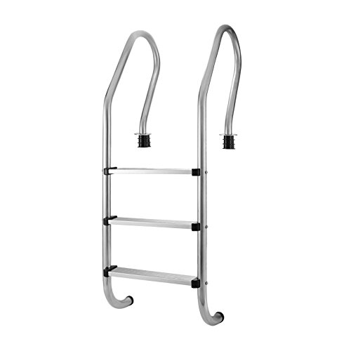Happybuy Ladder 3 Stainless Steel Ground Steps for Swimming Pool with High Impact Safety, Silver