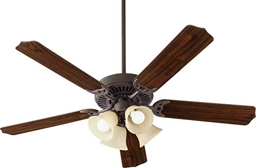 Quorum 7525-344 Protruding Mount, 5 Toasted Sienna/Walnut Blades Ceiling fan with 10 watts light, Toasted Sienna