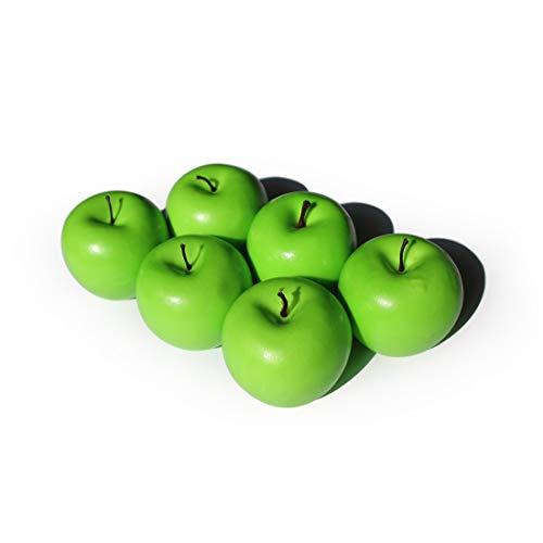 Frutas Manzanas Artificiales Falsas para la decoración del hogar Manzanas realistas de tamaño Real Manzanas Falsas para la decoración de la Fiesta de Navidad de la Cocina (6 Piezas de Manzana Verde)