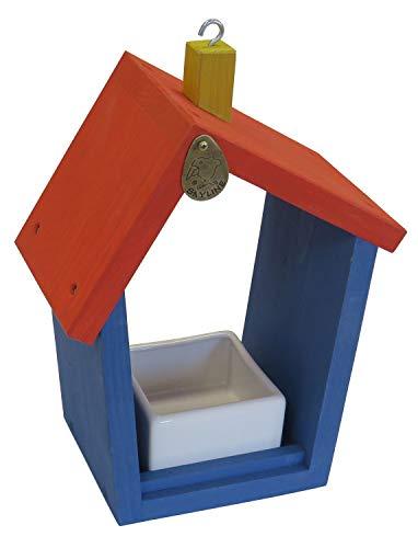 Skyline Vogelvoerhuisje, voederbakje, vogelhuisje, picnic, larikshout + keramische krap, rood-blauw