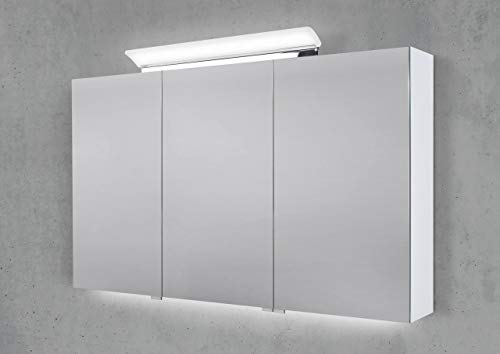 Intarbad ~ Spiegelschrank 120 cm LED Acryl Aufsatzleuchte mit Unterbauleuchte doppelseitig verspiegelt Hacienda Schwarz IB1956