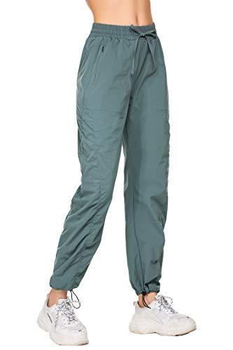 Sporthose Damen mit Handytasche Jogginghose Lang Freizeit Fitness Yogahose Fitness Traininghose Locker Loose Fit mit reißverschluss Gruen XXL