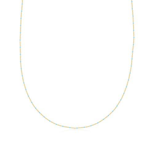 HMMJ Collar Chapado en Oro Real Hecho a Mano con Aceite de Bohemia hipoalergénico de Plata S925 para Mujer SCN452