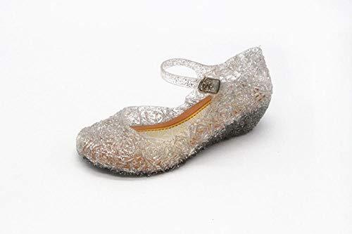 LJJYF Sandalias de Verano Zapatillas para Damas,Sandalias para niñas Zapatos de Cristal de Cenicienta Zapatos de Princesa de tacón Alto para niños-Blanco-_31