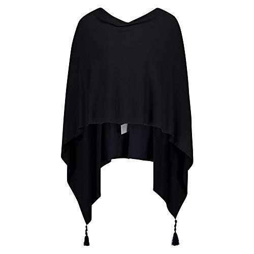 Betty Barclay 3800 2983 8345 Damen modischer Poncho mit Quasten Uni Handwäsche, Groesse OneSize, dunkelblau