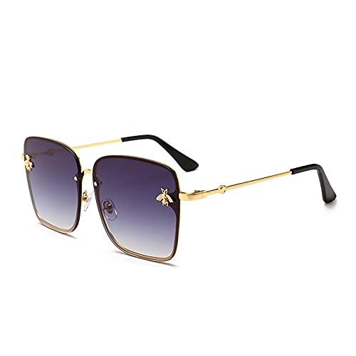 XUANTAO Gafas de Sol para Mujer, Personalidad Europea y Americana, Marco de Metal, Gafas de Sol de Abeja pequeña, Gafas de Sol Masculinas al Aire Libre