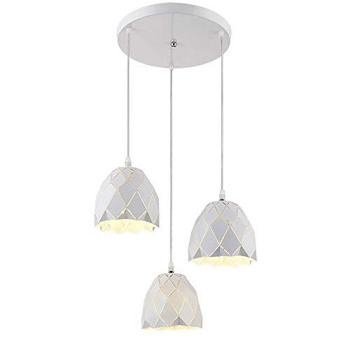 MJK Candelabros de novedad, candelabro de 3 luces, fuente de luz led, diseño de gota de lluvia, accesorios de iluminación, lámpara de techo blanca para cafetería, bar, comedor, candelabros para el ho