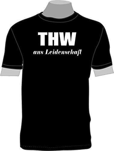 THW aus Leidenschaft; T-Shirt; schwarz; Unisex; 54/56; Gr. XL