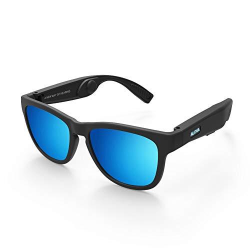 FPTB Gafas De Sol Inalámbricas con Bluetooth 5.0,Gafas De Conducción Ósea,Gafas De Sol Deportivas Polarizadas,Auriculares Estéreo Inalámbricos con Música Estéreo Y Micrófono para iOS/Android,Azul