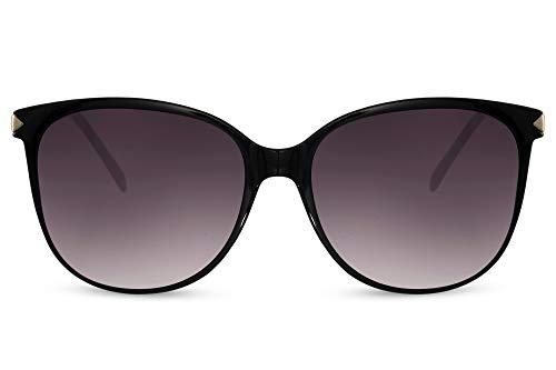 Cheapass Gafas de sol Sunglasses, marco negro brillante con lentes degradados y patillas de metal dorado, clásico, elegante, vintage, mariposa, con protección UV400, para mujer