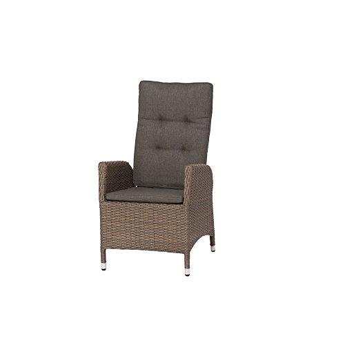 Siena Garden Dining Move Sessel Teramo, 60x70x110cm, Gestell: Aluminium, Fläche: Gardino-Geflecht in bronze, Kissenbezug aus Polypropylen mit 280g/m² in grau-braun