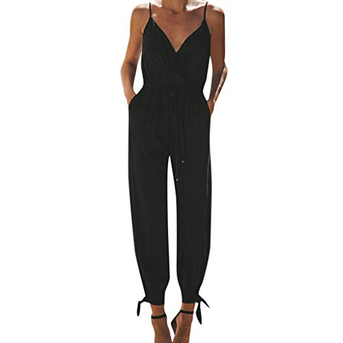 Alangbudu Women V Neck Jumpsuits Overalls Strap Sleeveless Casual Playsuit Tie Knot Beam Foot Rompers with Pockets Black