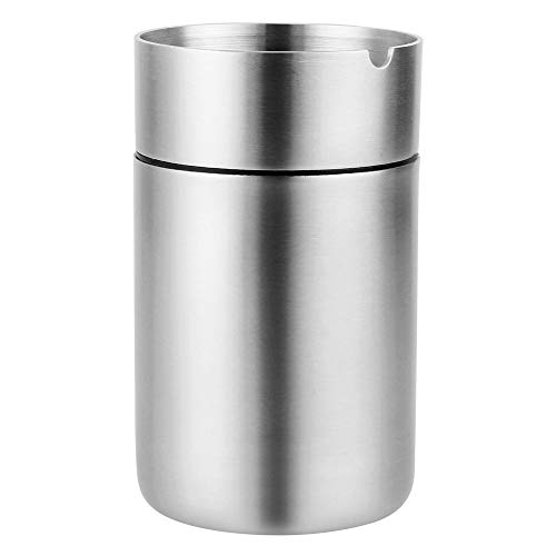 Hillvo Stainless Steel Car Ashtray with Lid, Windproof Tabletop Cigar Ashtray for Indoor Outdoor, Large