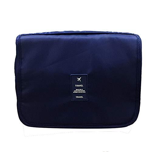 Nescop Bolsa de cosméticos con gancho impermeable, gran capacidad, bolsa de almacenamiento portátil, color rosa, azul marino (Azul) - VZWDVFTE60