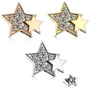 CZ Paved Double Star Internal Thread Dermal Anchor Top 1.6mm Body Piercing Jewelry